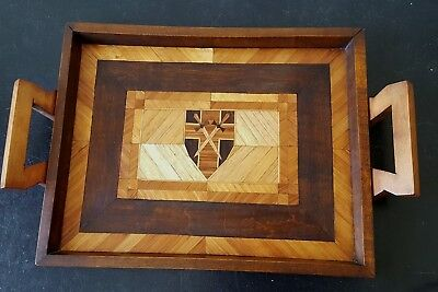 Old  parquetry   tray & box