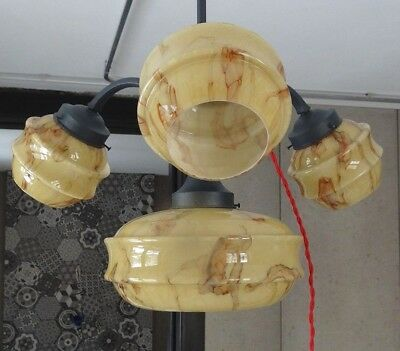 Art Deco Ceiling Light Lamp Chandelier~4 Bohemian Caramel Slag Glass Shade Globe