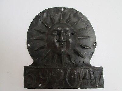 Original Sun Fire Office Plaque/fire Mark Policy No. 592047 Issued 1791 Glasgow