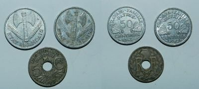 FRANCE : 3 OLD COIN - 5 Centimes 1934, 50 Centimes 1942 & 1943