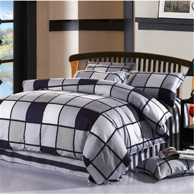 Checked Quilt/Doona/Duvet Cover Set Cotton Single/Double/Queen/King Size Bed New
