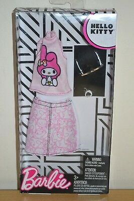 NEW 2018 BARBIE HELLO KITTY FASHION PACK SEPERATES TOP PINK ONE SHOULDER TANK