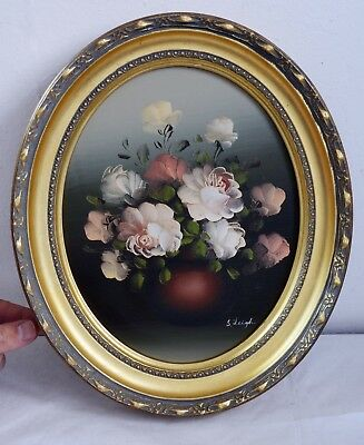Signed Vintage Oil on Board Still Life Painting in Oval Gilt Frame by S. Leigh