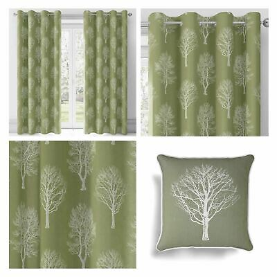 Woodland Trees Eyelet Curtains Cotton Ready Made Ring Top Curtain Pairs Green