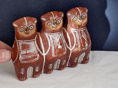 Wonderful Vintage South American Pottery Pipe / Flute in the Form of Three Owls