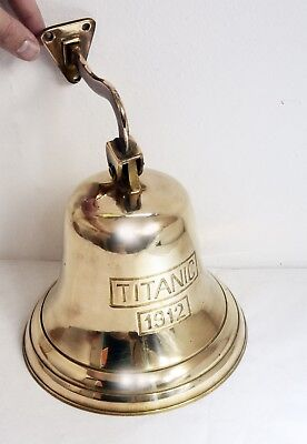 Wonderful Vintage Large Solid Brass Ship's Wall Bell - Nautical Repro Titanic