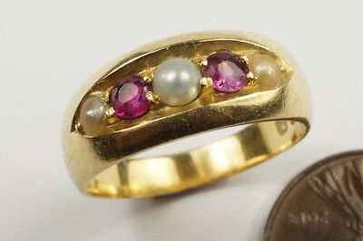 ANTIQUE LATE VICTORIAN ENGLISH 18K GOLD RUBY & PEARL 5 STONE RING c1889