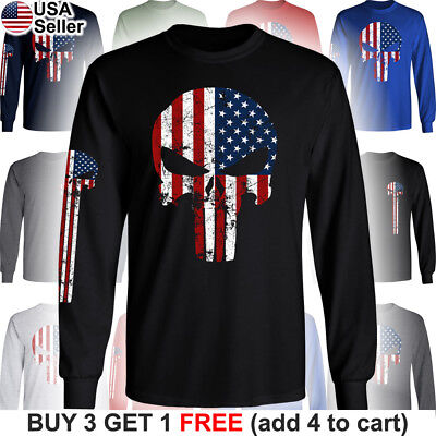 The Punisher American Flag T-Shirt Military Distressed Skull US Army USA Pride