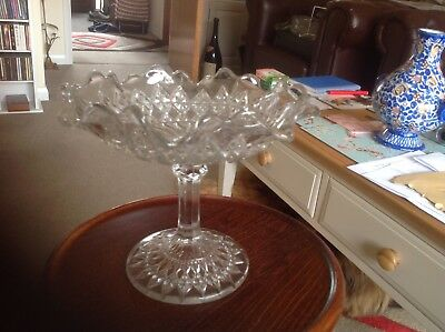 Glass Cake Stand Press Moulded Clear Glass