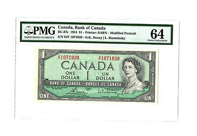 1954 $1 CANADA PMG 64 CHC UNC BC-37c BANKNOTE S/N O/F 1071939 PREVIOUSLY MOUNTED