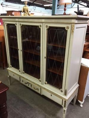 E20015 Vintage French Empire Style China Cabinet Display Gold Cream