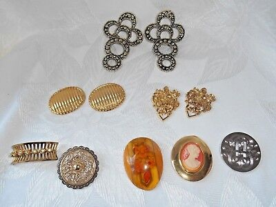 Vintage lot of 3 Pair of Shoe Clips and 5 Dress/Scarf Clips with 1 Lucite!