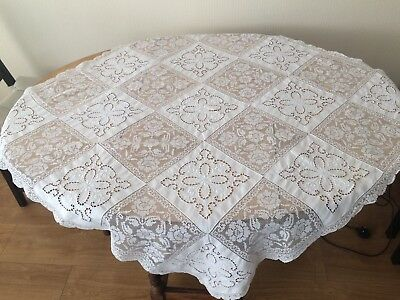 Pretty Vintage Small  Net Lace & Cut Work Embroidered Tablecloth