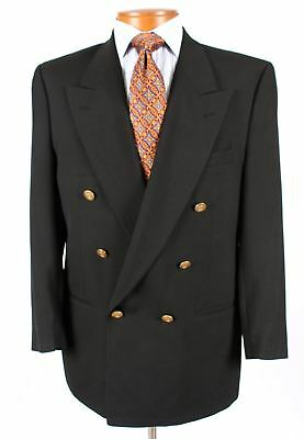 Christian Dior 40R Mens Black Double Breasted Gold Button Blazer  615