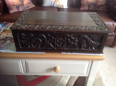 OAK CARVED 16th CENTURY BIBLE BOX CARVED DECORATION TOP AND FRONT