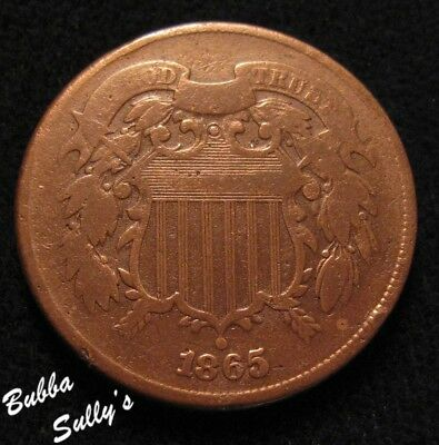 1865 Two Cent Piece <> F Details