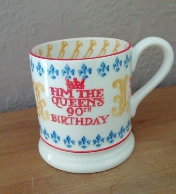 Emma Bridgewater 1/2 Pint Mug Hm Queen's 90Th Birthday  Mint Rare
