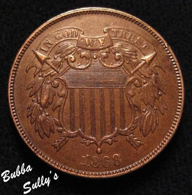 1868 Two Cent Piece <> EXTREMELY FINE