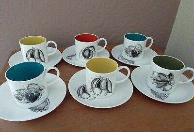 Vintage Susie Cooper Bone China 'black Fruits' Coffee Cans & Saucers X 6