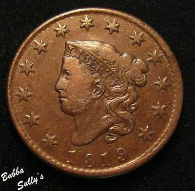 1819 Coronet Head Large Cent <> N-10 R3 Wide Date <> VF Details