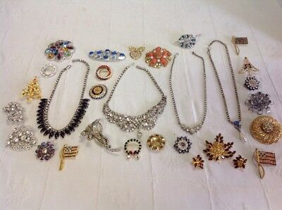 Huge Lot Of Vintage Antique Rhinestone Jewelry Pib Brooches Necklaces Christmas