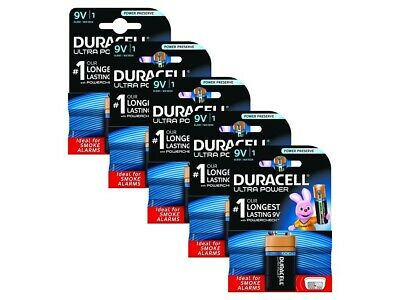 5 Pack of Duracell 9V PP3 Battery ULTRA POWER Alkaline with POWERCHECK Feature!