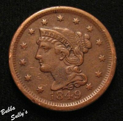 1849 Braided Hair Large Cent <> F Details