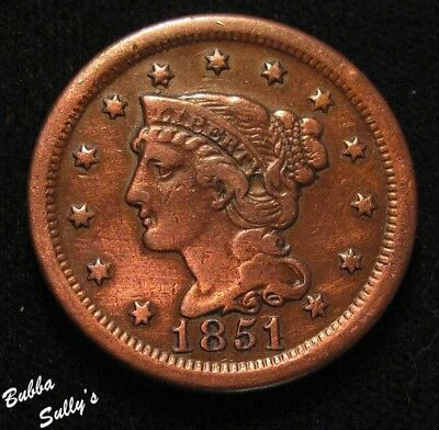1851 Braided Hair Large Cent <> N-3 R1 1851/81 <> F Details