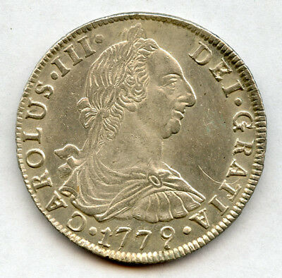 BOLIVIA 1779 PTS-PR  Kg.CHARLES III 8 REALES VERY SCARCE SILVER CROWN,CHOICE AU.