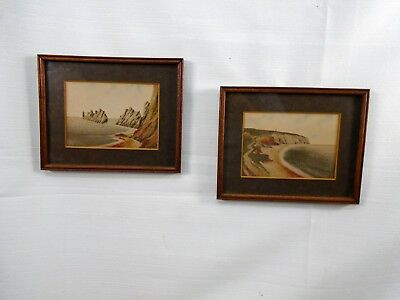 2 Original Framed Colored Sand Paintings Art Blomidon Point Nova Scotia Folk Art