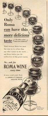 1950 vintage beverage AD ROMA California WINES  011918