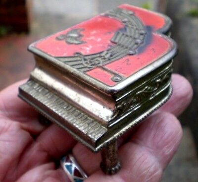 1930s Art Deco Metal Trinket Box In The Shape Of A Piano