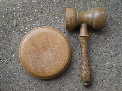 1980s Wooden Auctioneers Gavel ANd Stand