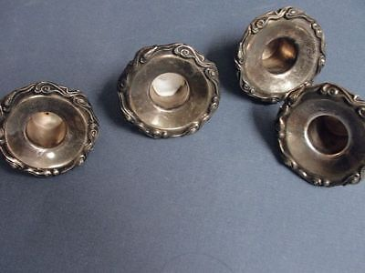 Silverplated Candle Holder Drip Inserts - Scroll Design - Set Of 4 Matching