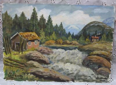 Small Vintage Oil Painting On Board Norwegian Landscape - Signed - Unframed