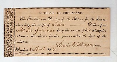 1823  Receipt for Donation to Hartford Retreat for the Insane