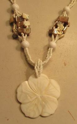 Vintage 60's Chunky Flower Mother of Pearl Glass Bead Bib Pendant Necklace