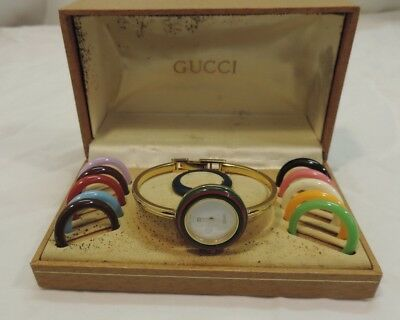 95ad9416924 Vintage Gucci Ladies Bangle Watch 1100-L with Bezels And Box ~! SELLING AS
