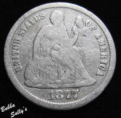 1877 CC Seated Liberty Dime <> Spin Marks <> VERY GOOD