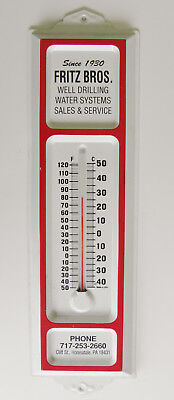 Vintage FRITZ Bros. Since 1930 Metal Wall Thermometer! Honesdale, PA. Works!