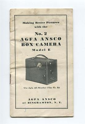 1930s ANSCO Vintage AFGA No.2 Box Camera Model E Manual, Binghamton,NY B2 Film