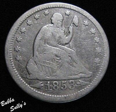 1853 With Arrows & Rays Seated Liberty Quarter <> VG to F Details