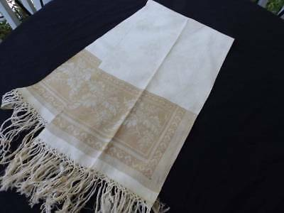 Elegant Antique Linen Damask Guest Towel~Acorns Oak Leaves~Hand Tied Fringe