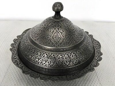 Large Islamic Lidded Ottoman Bowl Persian Tinned Copper Finely Engraved c1900