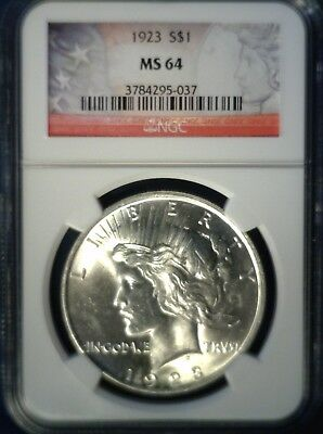 Brilliant Uncirculated 1923 Peace Silver Dollar NGC MS64 Red Label Holder