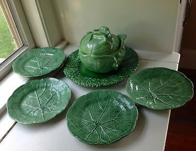 Williams Sonoma Cabbage Serving Bowl & Plate Set Of 6 Portugal