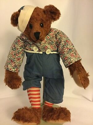 """VINTAGE JOINTED CURVED PAW HUMPBACK TEDDY BEAR RAGGEDY ANDY 17"""" floppy head rare"""