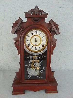 Old 1800S Antique Ansonia Gingerbread Parlor Lg Shelf Mantle Clock