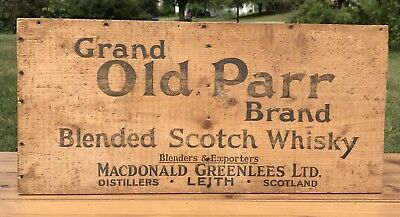 Vintage Grand Old Parr Brand Whiskey Wood Crate Box End Wall Bar Pub Sign Decor