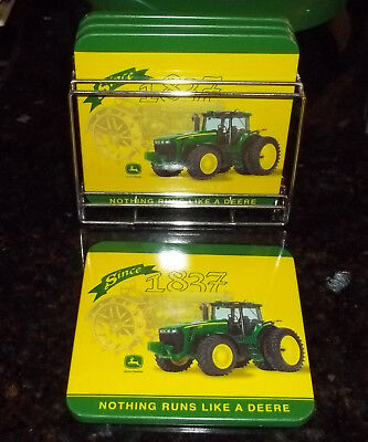 New Set of 4 Coasters John Deere  with Holder, Nothing Runs Like A Deere Tractor